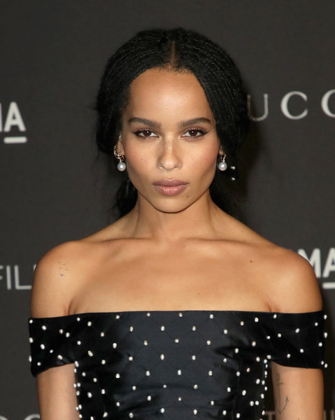 Zoe Kravitz Loose Ponytail [hair,shoulder,hairstyle,eyebrow,beauty,lip,joint,black hair,long hair,dress,arrivals,zoe kravitz,catherine opie,guillermo del toro,california,los angeles,lacma,gucci,lacma art film gala]