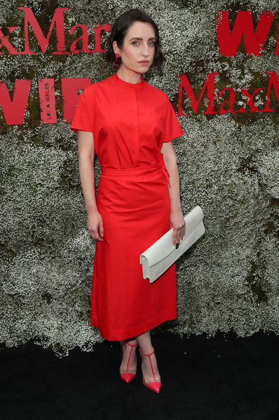 Zoe Lister Jones Oversized Clutch [instyle max mara women in film celebration,max mara women in film celebration,zoe lister-jones,red,clothing,dress,cocktail dress,pink,fashion,red carpet,premiere,carpet,footwear,california,los angeles,chateau marmont,instyle]