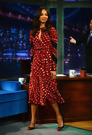 Zoe Saldana's red, black, and white square-printed frock had a fun retro vibe to it at 'Late Night With Jimmy Fallon.'