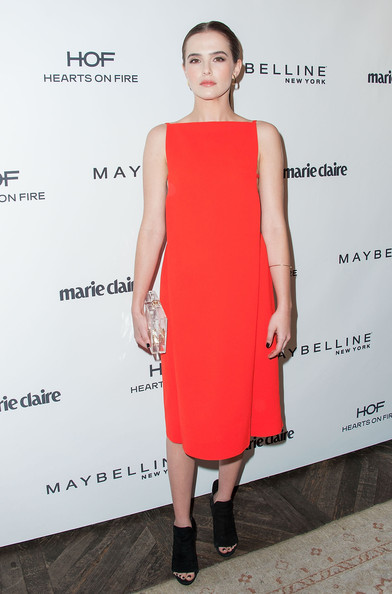 Zoey Deutch Midi Dress [zoey deutch,marie claires,marie claires fresh faces party,clothing,dress,cocktail dress,red,fashion model,shoulder,fashion,footwear,hairstyle,premiere,soho house,west hollywood,california,fresh faces party]