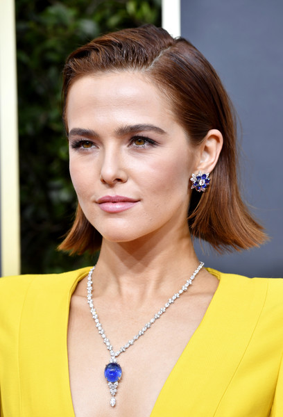 Zoey Deutch Gemstone Studs [hair,face,hairstyle,eyebrow,beauty,chin,yellow,ear,jewellery,lip,arrivals,zoey deutch,ambassador,hair,hairstyle,face,beverly hills,california,the beverly hilton hotel,golden globe awards,zoey deutch,76th golden globe awards,beverly hills,celebrity,the politician,red carpet,actor,popsugar,golden globe ambassador]