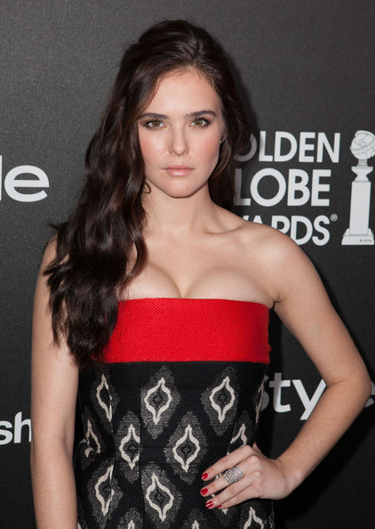 Zoey Deutch Red Nail Polish [hair,clothing,hairstyle,premiere,beauty,lip,dress,strapless dress,long hair,brown hair,zoey deutch,fig,olive melrose place,west hollywood,california,hollywood foreign press association,instyle celebrates,season,golden globe awards]