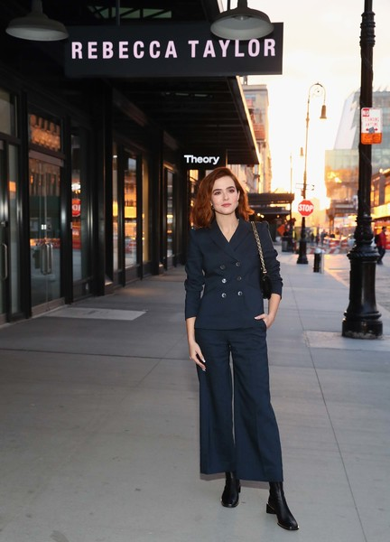 Zoey Deutch Pantsuit [the tailored studio,clothing,snapshot,standing,street fashion,fashion,photography,suit,outerwear,street,formal wear,zoey deutch,rebecca taylor,new york city,wing,wing launch event,launch event]