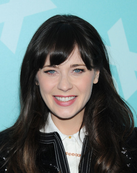 Zooey Deschanel Pink Lipstick [fox 2103,hair,face,hairstyle,bangs,eyebrow,black hair,forehead,beauty,layered hair,chin,zooey deschanel,new york city,wollman rink - central park,programming presentation post-party]