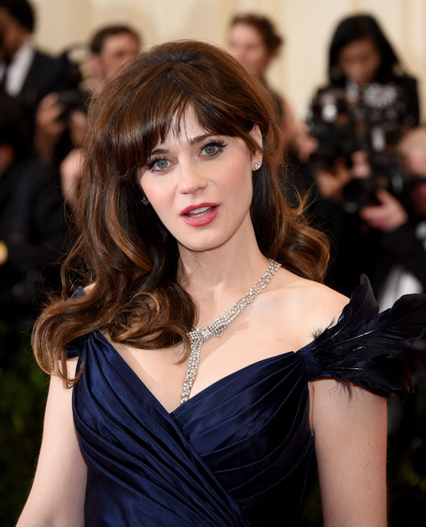 Zooey Deschanel Diamond Statement Necklace [charles james: beyond fashion costume institute gala,hair,hairstyle,shoulder,beauty,long hair,brown hair,bangs,lady,chin,lip,red carpet arrivals,zooey deschanel,part,new york city,metropolitan museum of art,met gala]