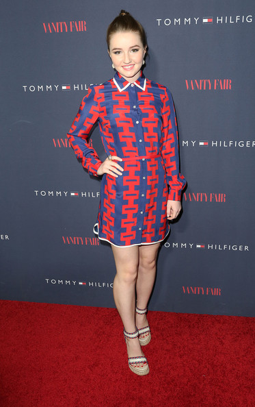 Kaitlyn Dever went for a fun retro look in a red and blue patterned shirtdress during the Zooey Deschanel and Tommy Hilfiger collection debut.