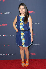 Ally Hilfiger kept it breezy in a floral day dress during the Zooey Deschanel and Tommy Hilfiger collection debut.