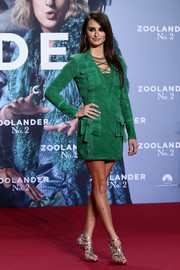 Penelope Cruz looked fierce in a green Balmain suede dress with a lace-up neckline at the 'Zoolander No. 2' Berlin fan screening.