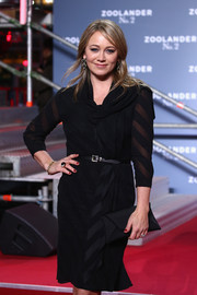 Christine Taylor chose a sheer-striped LBD with a draped neckline for the 'Zoolander No. 2' Berlin fan screening.