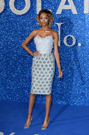 Jourdan Dunn paired her ultra-feminine frock with pearl-gray satin pumps.