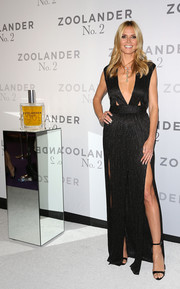 Heidi Klum went for minimal styling with a pair of black ankle-strap heels by Giuseppe Zanotti.