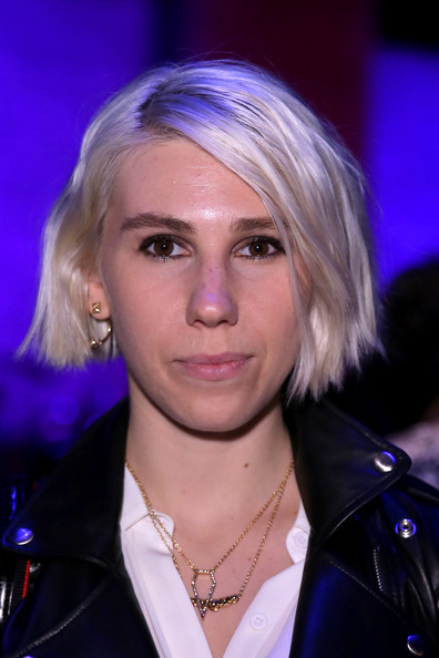 Zosia Mamet Short Side Part [hair,face,blond,hairstyle,eyebrow,electric blue,chin,hair coloring,layered hair,lip,rebecca minkoff,zosia mamet,front row,lincoln center,new york city,the pavilion,mercedes-benz fashion week,fashion show]