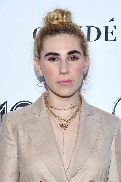 Zosia Mamet Braided Bun [hair,face,hairstyle,eyebrow,lip,blond,beauty,fashion,chin,forehead,new york city,glamour women of the year awards: women rise,arrivals,zosia mamet]