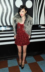Stacey showed off her grey fur vest while hitting the M.A.C Cosmetics launch in New York.
