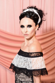 Stacey Bendet styled her hair into a messy crown braid for the Alice + Olivia Fall 2017 presentation.