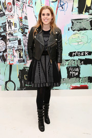Princess Beatrice went for an edgy finish with a black leather biker jacket.