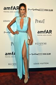 Izabel Goulart channeled her inner Grecian goddess in a stunning evening dress at the amfAR Inspiration Gala in Sao Paulo.