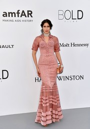 Anna Cleveland looked breathtaking in a multi-textured pink mermaid gown by Jean Paul Gaultier Couture at the amfAR Gala Cannes 2017.