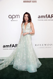 Michelle Yeoh looked regal in an embroidered mint-green ballgown by Barney Cheng at the 2019 amfAR Gala Hong Kong.