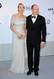 Charlene Wittstock was a sight to behold in a soft blue off-the-shoulder evening gown at the amfAR Gala.