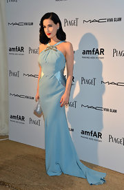 Dita looked simply divine in this sky blue satin gown at the amfAR Inspiration Miami Beach Party.