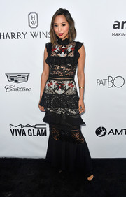 Aimee Song looked adorable in this tiered mixed-lace gown by PatBo at the amfAR Gala in Los Angeles.