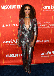 Eve looked oh-so-cool in a metallic pantsuit at the amfAR Gala Los Angeles 2018.