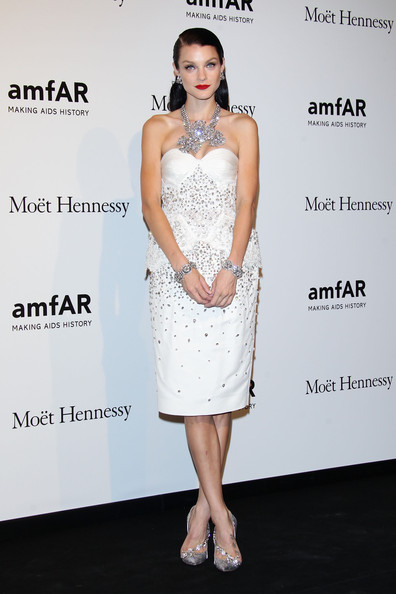 Jessica Stam kept the sparkle coming with a pair of crystal-encrusted pumps, also by Dsquared2.