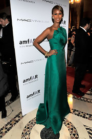 It's official, Iman looks fantastic in every color. The model donned a vivacious jade Angel Sanchez evening gown to the amfAR New York Gala to kick off Fashion Week in 2010. The simple silhouette was enriched with a bodice of rich pleated texture and she swept her hair back into a low 'do to complete her elegant look.
