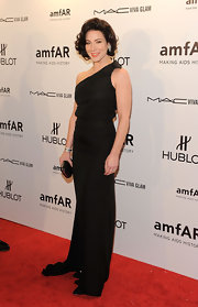 Lynn Collins looked elegant in a black single-shoudlered gown at the amfAR gala.