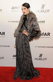 Michelle Harper channeled '20s elegance in this snake print gown at the amfAR Fashion Week gala.