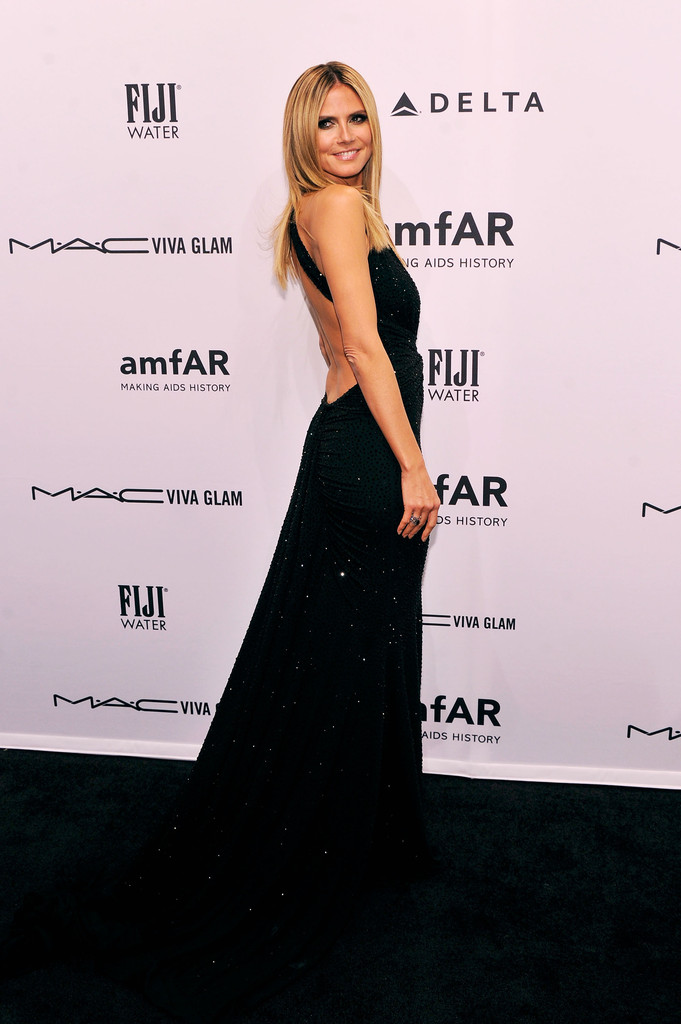 Heidi Klum attends the amfAR New York Gala to kick off Fall 2013 Fashion Week at Cipriani Wall Street on February 6, 2013 in New York City.