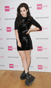 It was exhausting just looking at Charlie XCX's ultra-chunky black ankle boots at the Very.co.uk launch party.