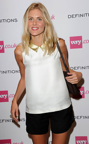 Donna Air was casual yet cute in a white blouse with a gold collar during the Very.co.uk launch party.