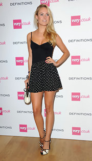 Kimberley Garner paired black-and-white polka-dot shorts with a camisole for a cute and sexy finish at the Very.co.uk launch party.