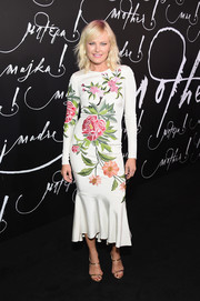 Malin Akerman was all abloom in a floral-embroidered ruffle-hem dress by Naeem Khan at the New York premiere of 'mother!'
