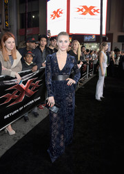 Julianne Hough sizzled in a sheer, deep-V velvet-burnout gown by Zuhair Murad at the LA premiere of 'xXx: Return of Xander Cage.'