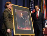 Barack Obama in President Obama Dedicates Abraham Lincoln Hall At National Defense University