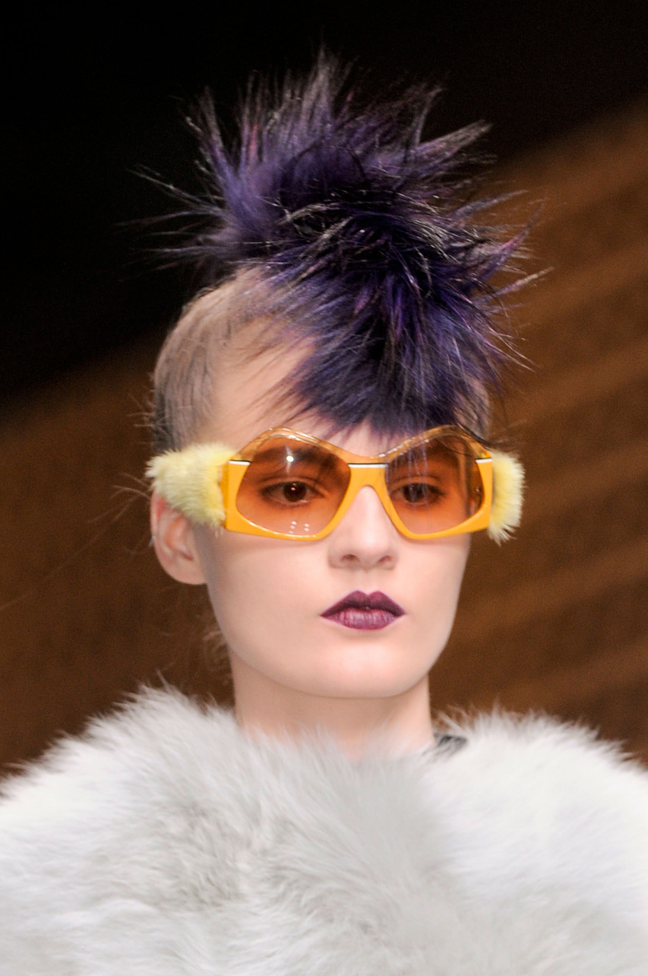 Models Wore Colored Fur Fauxhawks, Fuzzy Sunnies at Fendi