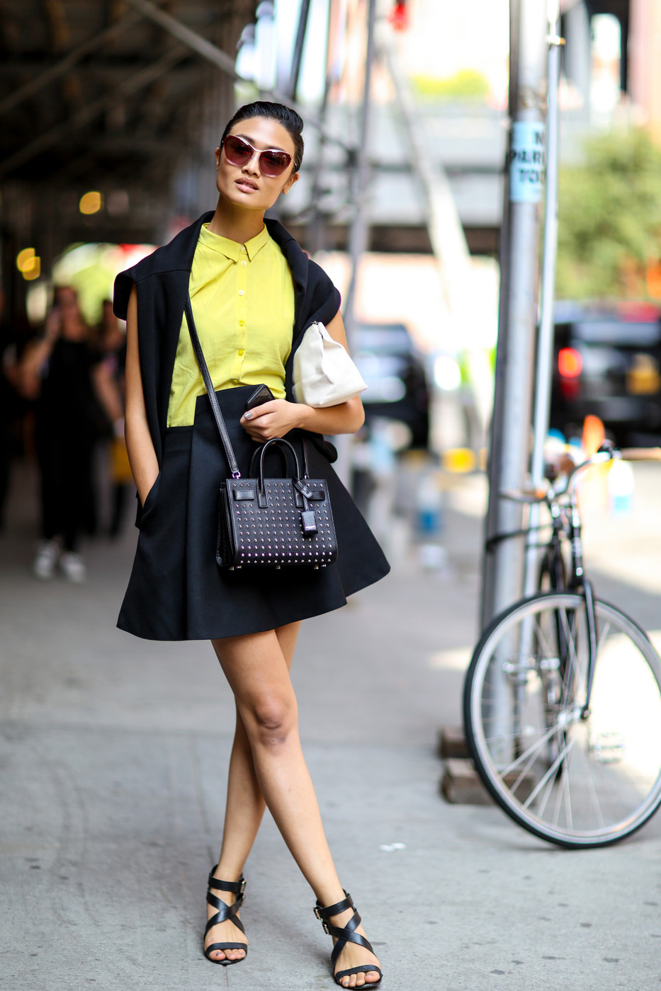 Black And Lime Best Street Style From New York Fashion Week Spring 2015 Stylebistro