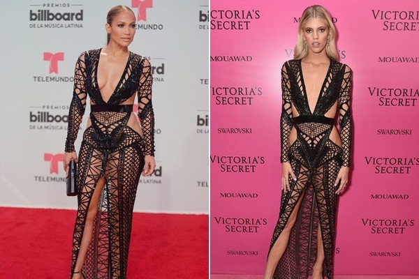 Jennifer Lopez and Devon Windsor in Julien Macdonald