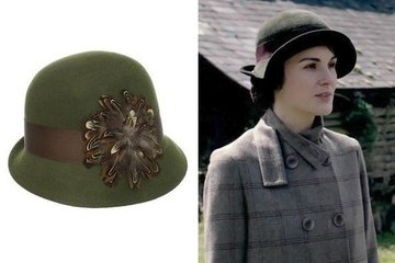 Michelle Dockery's Ribboned Green Hat on 'Downton Abbey'