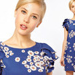 Asos' Blue Floral Frill Shoulder Dress