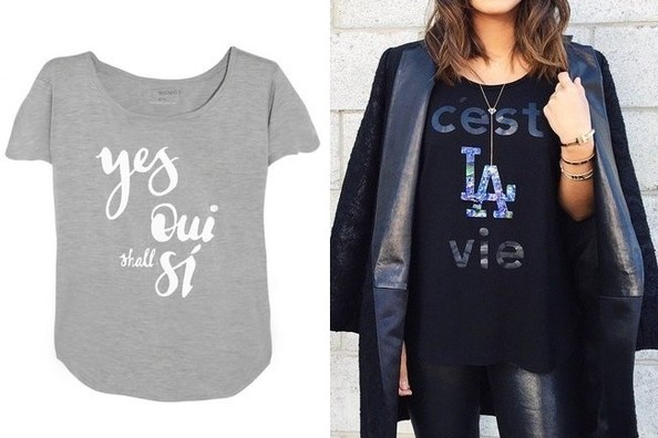 Two Songs Yes Oui Shall Si Tee, $58; and C'est La Vie Tee, $58