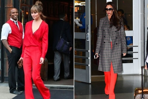 Chrissy Teigen and Victoria Beckham in Victoria Beckham
