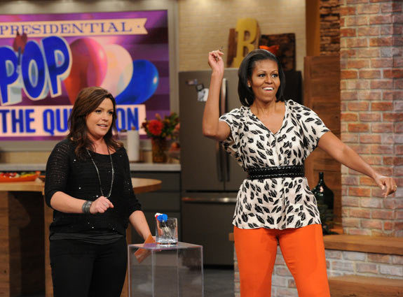 Michelle Obama Wears Tracy Reese on the Rachael Ray Show, Does Lots of Stuff