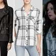 Katie Lowes' Black Leather Moto Jacket and Plaid Button-Down on 'Scandal'