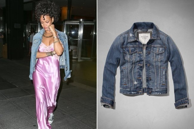 Rihanna in Abercrombie Denim Jacket