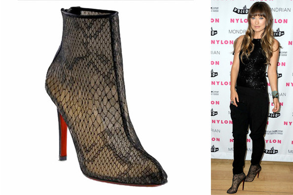 replica louboutin boots - Olivia Wilde in Paola Lace Ankle Boots - Celebrities Love ...