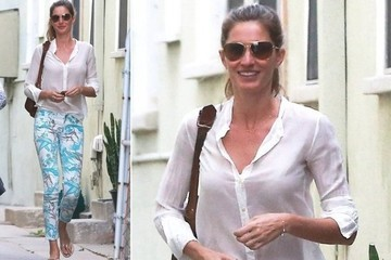 Gisele's Spring-Print Jeans